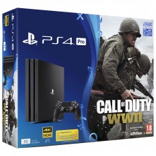 PlayStation 4 Pro Bundle (1 Tb, Call of Duty WWII, черный), 242212, Консоли